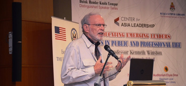 Professor Kenneth Winston expounding on ethics. (U.S. Embassy photo)